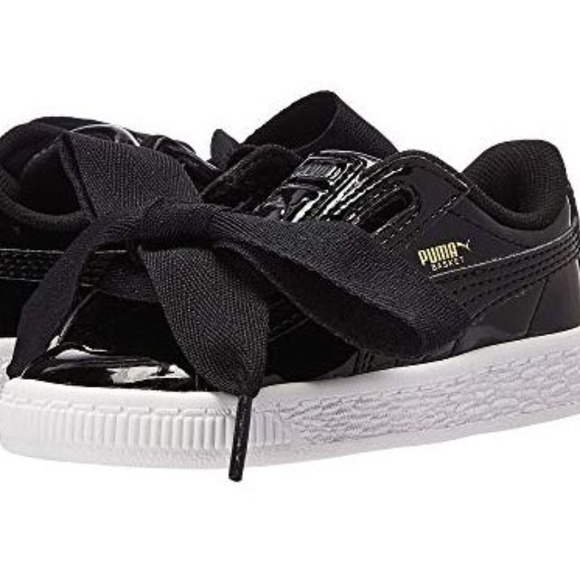 official photos 00bc5 91a10 Puma Basket Heart Patent Black Patent Leather 5 NWT